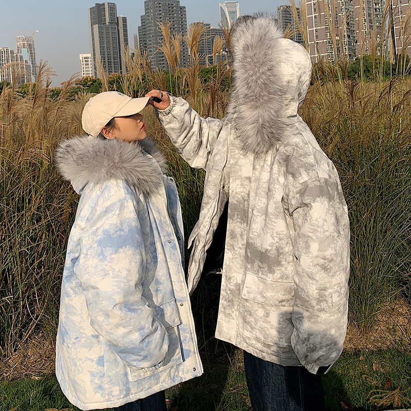Couples dressed in cotton winter clothes ins workwear big hair collar dyed cotton clothing womens bread clothing Korean version of loose cotton jacket