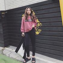 Korean version of the slim size weight mm slim black stretch skinny jeans