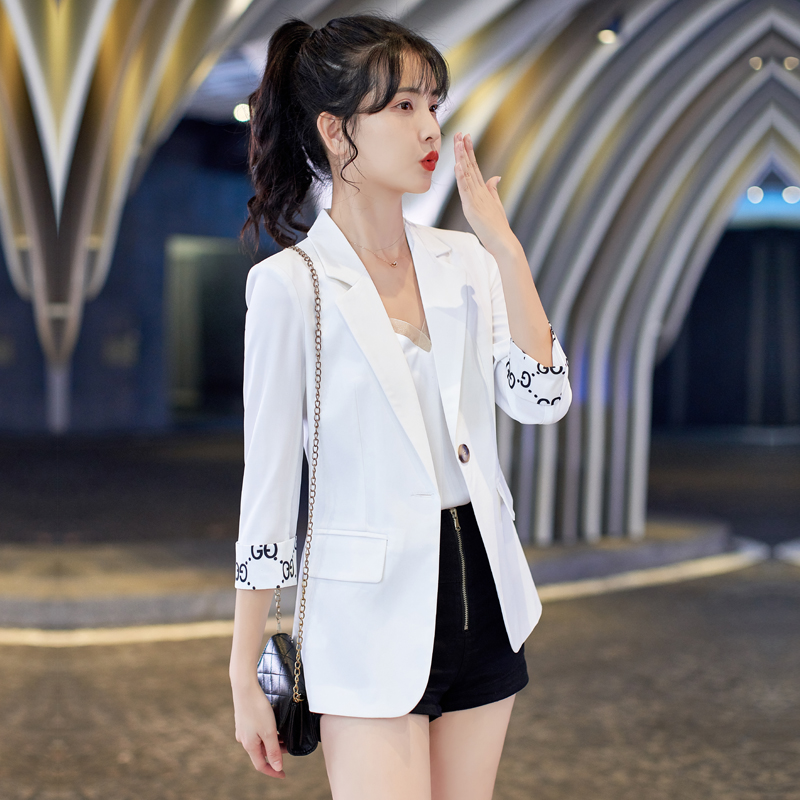 White small blazer women casual thin section spring summer 2021 new item net red burst short small suit