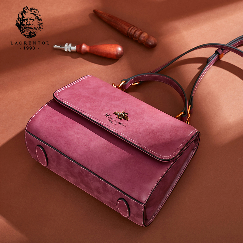 Old man head bag female 2018 new wave Korean version of the personality explosion section Messenger bag retro shoulder bag leather tide