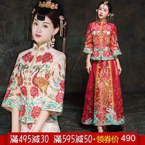 Show WO clothing bride 2018 the new Chinese style wedding dress costume wedding dress dragon and Phoenix Gown Wedding toast clothing show and