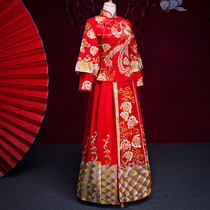 Xiu wo clothing bride 2017 new autumn winter Longfeng coat chinese wedding dress Slim married toast long