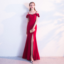 Bridal Toast 2018 New spring wedding tail self-cultivation engagement long long host dress evening dress girl
