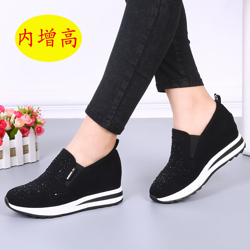 Gyeonggi Cheung old Beijing cloth shoes fashion increase women's shoes wedges black gray cloth platform shoes platform women's shoes