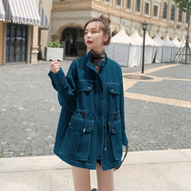 Workwear jacket womens spring model small short 2021 new draw rope waist low collar in the early spring windshield