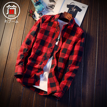 Checker shirt men's long sleeve summer thin Korean version of the trend of self-cultivation handsome leisure short sleeve shirt jacket inch clothes
