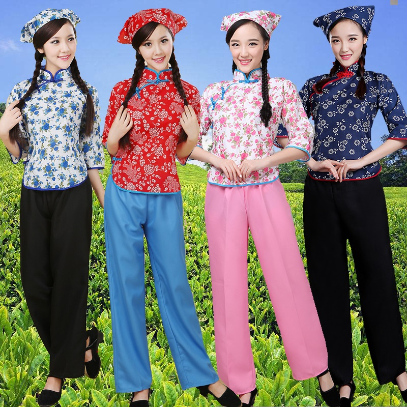 Singing clothes new A Qingxuan clothes square dance performance dress tea-picking female dance village aunt republic wind broken flower clothing