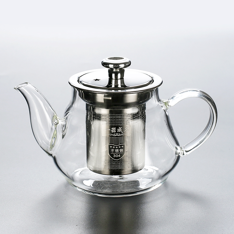 Old Wangge high temperature glass teapot large band inner bile filter teapot small household flower tea maker thickened