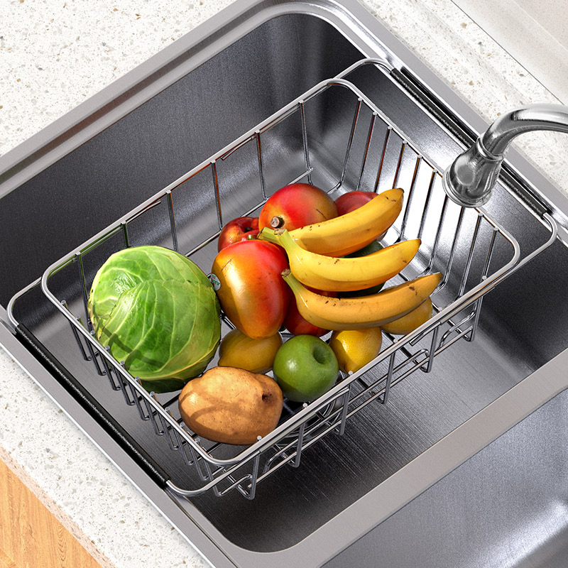 Dish sink sink leaching rack dish basin leaching basket stainless steel household kitchen washbasin leak sink filter telescopic