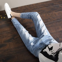 Broken hole spring summer leisure relaxed show thin students nine trousers