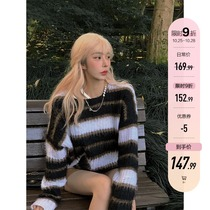 Barbie aunt striped lazy sweater women wear loose pullover sweater in autumn and winter