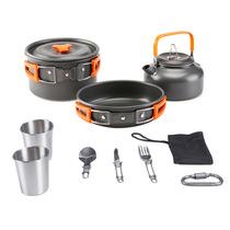 Outdoor set pot teapot set 2-3 people camping kettle pot set portable outdoor cooking utensils car mini.
