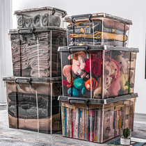 Transparent storage box extra large plastic storage box has covered clothes box home large thickening box