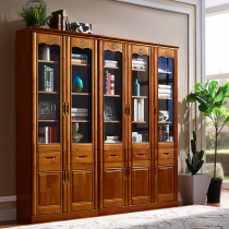 Solid wood bookcase with glass door modern minimalist Chinese household Study Bookshelf bookcase Office file cabinet