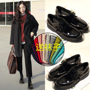 Small leather shoes fall 2017 new female Korean all-match shoes with a British student Harajuku school trend
