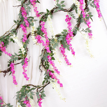 Simulation of long wisteria flower string tree rattan decorative rattan fake flower stripe vine wedding pipeline decoration violet Flower vine