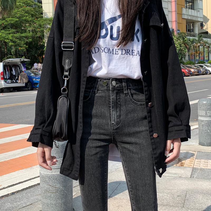 High-waisted jeans womens 2020 autumn winter thin velvet gray black slimming show thin new plus-new plus-down tight narrow tube pants