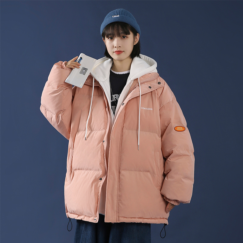 Winter thick cotton clothing female Korean version of loose foreign cotton wool 2020 new wave brand fake two pieces of cotton clothing ins tide