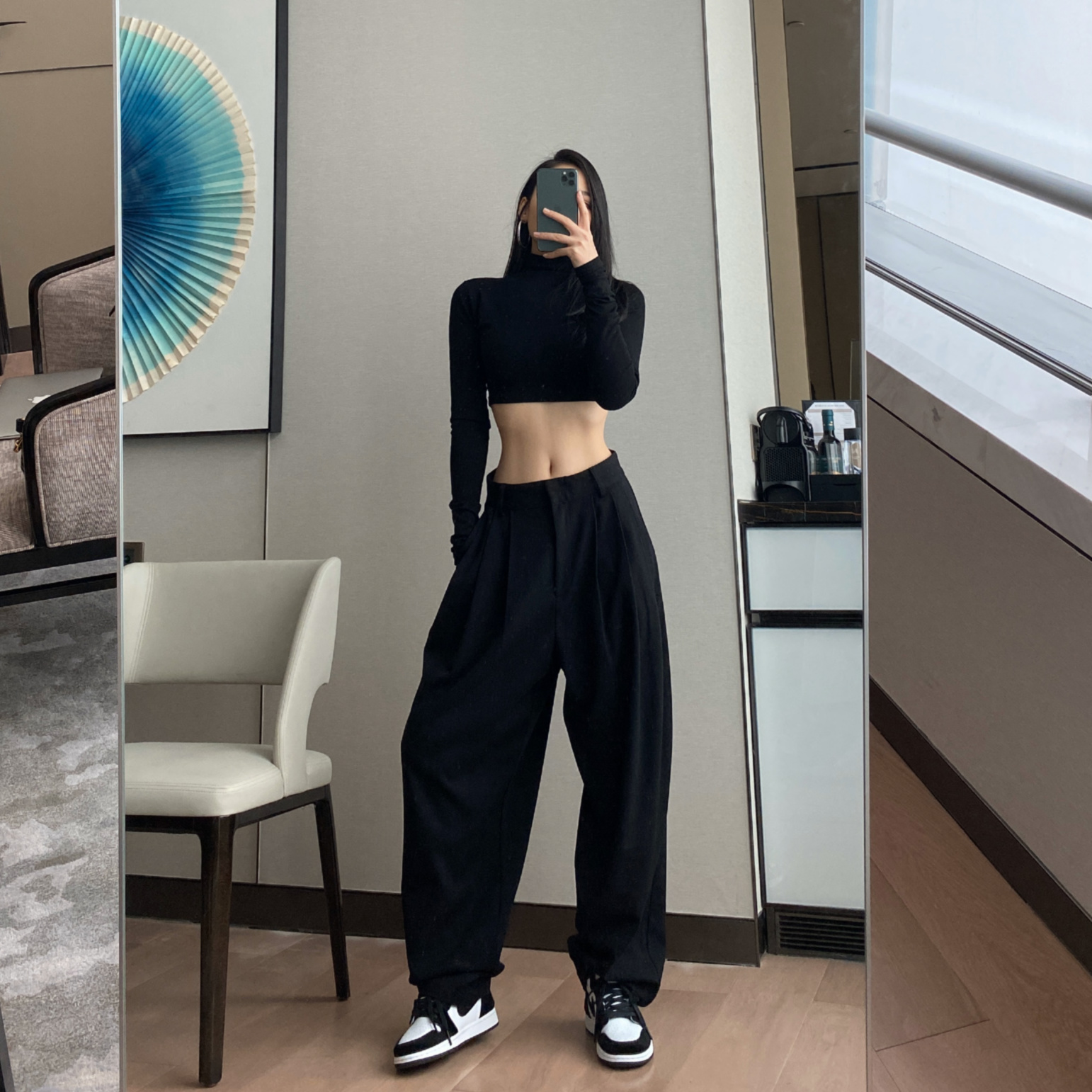 DQSTORE casual straight suit pants women autumn and winter new high-waisted loose show thin drop feeling European and American drag long pants