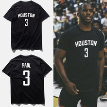 The Houston rockets basketball shirt queen Chris Paul T-shirt male black render unlined upper garment clothes in the summer with short sleeves
