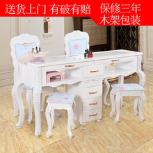 Special price, double deck glass, European manicure table, three person, manicure, complete set of chairs and stools.