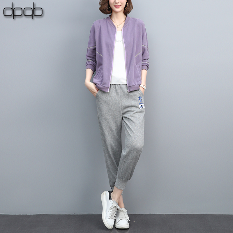 Leisure sports suit female 2021 spring and autumn new fashion foreign style small mother age reduction sweater two sets