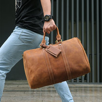Travel bags, handbags, men's first-coat cowhide, large-capacity leather bags, European and American mad horse leather, one-shoulder diagonal bags