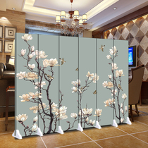Screen partition simple office fashion living room solid wood modern bedroom mobile folding restaurant double-sided fabric folding screen