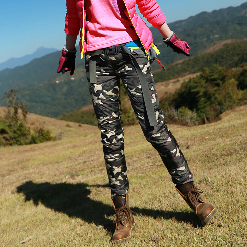 Taotao outdoor autumn and winter women's down pants hiking mountaineering trousers duck down warm camouflage ultra light trousers