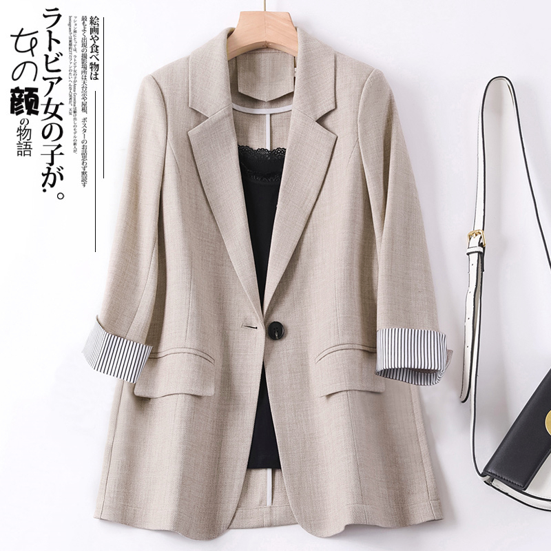 Apricot small blazer womens thin section 2021 summer new Korean version of the British style casual suit womens top spring and autumn