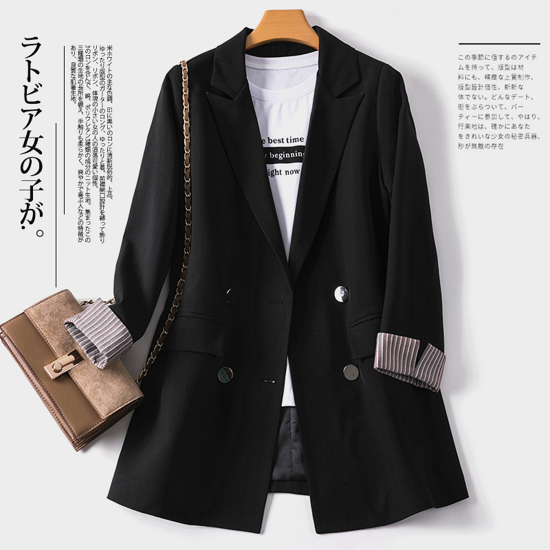 Black small suit jacket women Korean version of the spring 2021 new show thin British style suit womens top South Korea