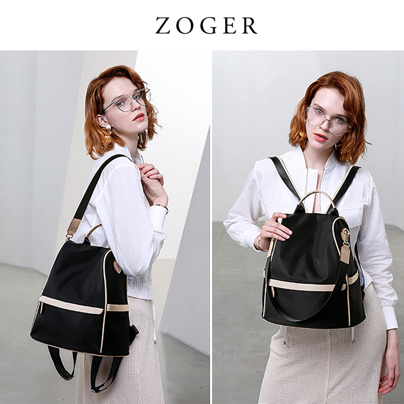 Double-shoulder bag woman 2019 new Korean version Chao Bai-tie Oxford canvas leisure lady Travel Backpack