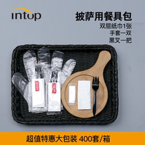 Disposable tableware Bag Set combination 4 pieces takeaway packing Fork Glove paper towel can be customized 400 sets