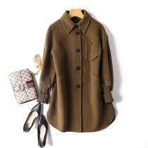 Double-sided cashmere coat women 2021 autumn and winter new shoulder loose doll collar long full wool woolen coat