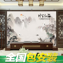 3D three-dimensional Chinese ink landscape mural 5d TV background wall paper living room decoration atmosphere film and television wall cloth