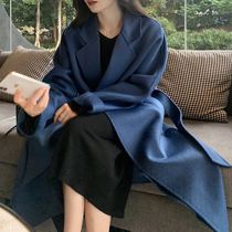 High-end water corrugated double-sided cashmere coat women long loose 100% woolen coat 2021 autumn and winter New