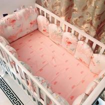 爱予INS火烈鸟纯棉贡缎婴儿床围床单圆床造型床头靠宝宝床品