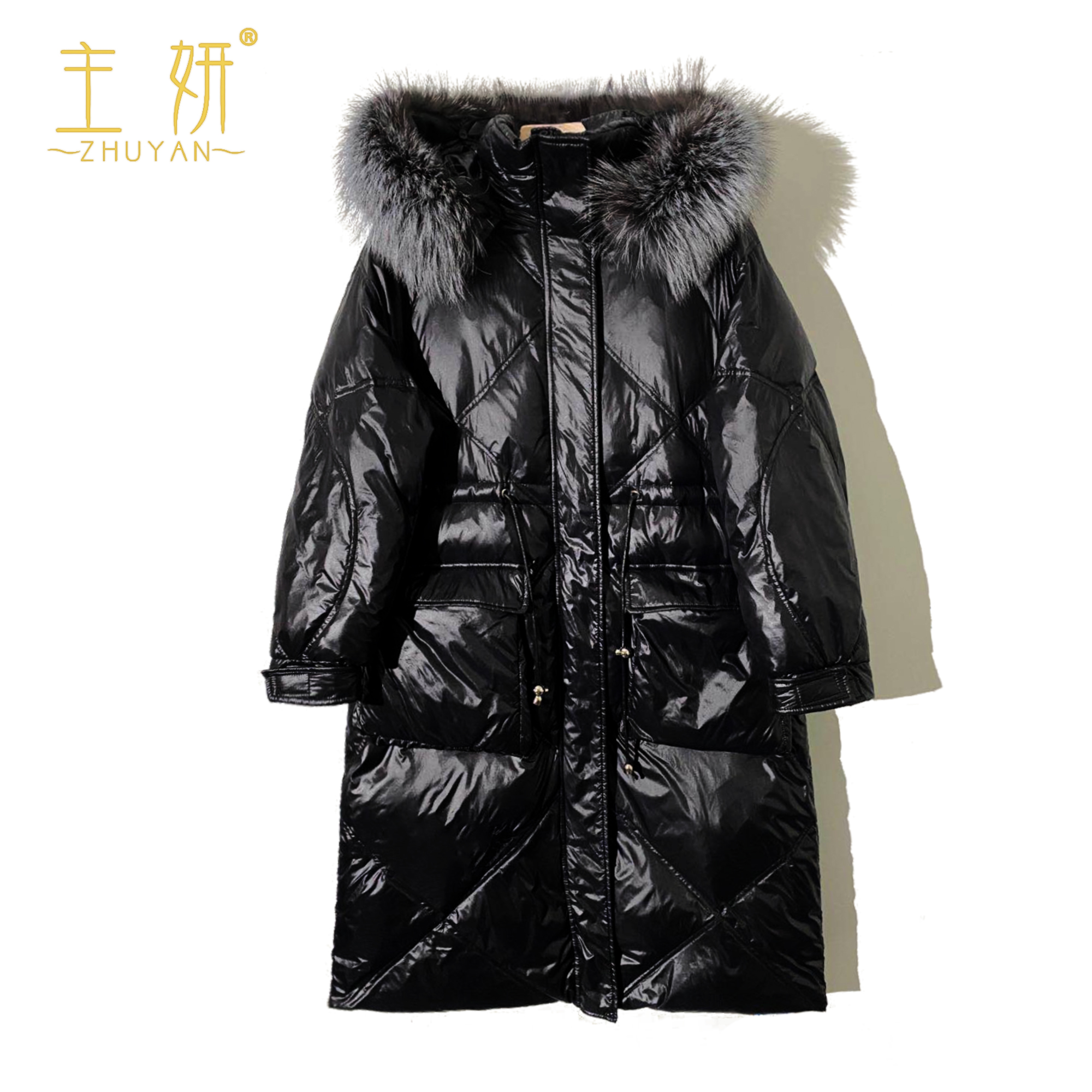 (Main original) 2020 long style silver fox fur collar 90 national standard down jacket 58677