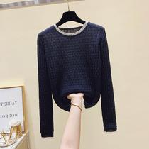 Knitted base shirt Womens Autumn 2021 New Long Sleeve T-shirt Large Womens Fashion Interior Top Women