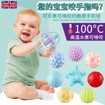 Baby toy Manhattan Hand Grab ball 3-6-12 months baby puzzle soft glue tactile sense massage ball tooth glue