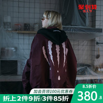 SuaMoment three generations of blood claw scratches double-sided wear loose ma-1 pilot hooded jacket padded coat tide