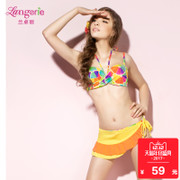 Lan Zhuoli girl swimwear can be inserted pad neck hanging split triangle gather bikinis