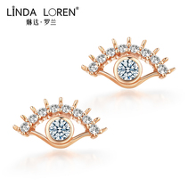 Linda Roland 18k gold earrings female rose gold simple and compact mesh Red Devils eye earrings Valentines Day gift