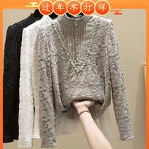 Кружевная рубашка для женщин осенью и зимой 2019 Air New с длинными рукавами половина водолазки плюс бархат утолщение кружевной блузки