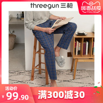 Three-shot sleeping pants men spring and summer cotton plaid plaid loose home pants tethered cotton mens home trousers