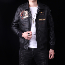 Autumn and winter mens self-cultivation Korean version of the handsome embroidered lapel leather jacket