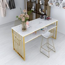 Nordic nail art table and chair package Wrought iron nail art table Marble single double triple affordable type