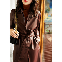 Wine red sheep leather leather jacket womens coat 2021 new spring and autumn fashion long windbreaker autumn