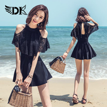 DK2018 new swimwear female one-piece dress style sexy cover belly slim small chest gathered hot spring dress conservative large size