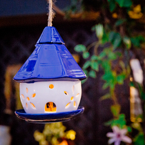 Christmas decoration hanging bird feeding device solar lamp hollow ceramic Blue Cottage garden decoration